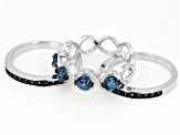 London blue topaz rhodium over silver 3-band ring set 1.47ctw