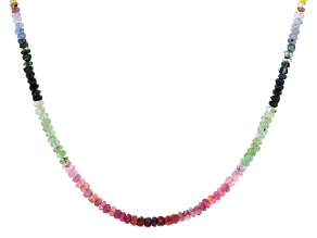 Multi-Color Multi-Stone Rhodium Over Silver Necklace Approximately 60.00ctw