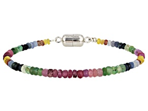 Multi-Color Multi-Stone Rhodium Over Sterling Silver Bracelet Approximately 22.00ctw