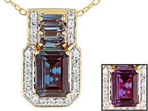 Color Change Lab Created Alexandrite 18k Gold Over Silver Pendant With Chain 2.42ctw