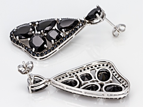 Black Spinel Rhodium Over Sterling Silver Earrings 17.33ctw