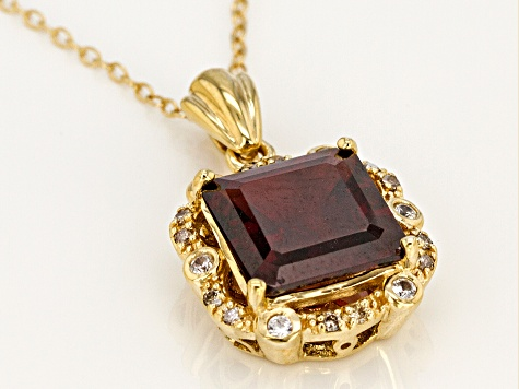 Red Garnet 18k Gold Over Sterling Silver Pendant With Chain 4.85ctw