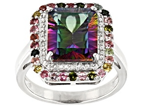 Mystic Fire® Green Topaz Rhodium Over Silver Ring 5.22ctw