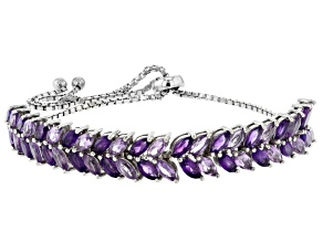 Purple amethyst rhodium over silver bolo bracelet 4.84ctw