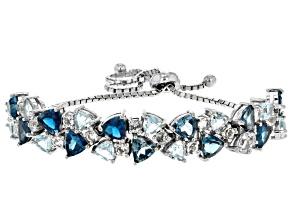 Blue topaz rhodium over silver bolo bracelet 9.55ctw