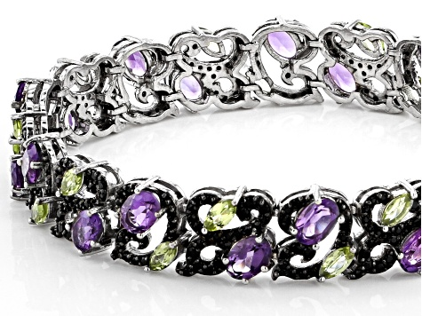 Purple amethyst rhodium over silver bracelet 11.55ctw