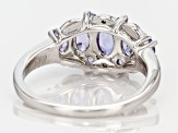 Blue Tanzanite Rhodium Over Sterling Silver Ring 1.12ctw