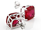Red lab created ruby rhodium over silver earrings 15.31ctw