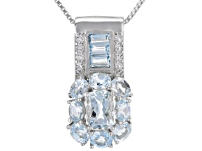 Blue aquamarine rhodium over sterling silver pendant with chain 2.64ctw