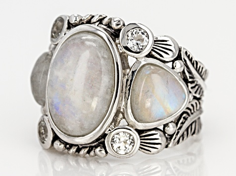 White rainbow moonstone rhodium over sterling silver ring