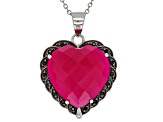 Pink onyx rhodium over silver pendant with chain .16ctw