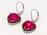 Pink onyx rhodium over silver earrings .20ctw