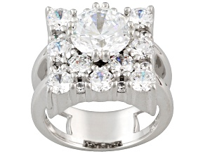 Womens Square Shape Ring 10ctw White Cubic Zirconia Sterling Silver