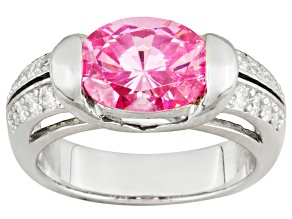 Pink And White Cubic Zirconia Sterling Silver Ring 5.94ctw