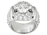 9.04ctw Cubic Zirconia Rhodium Plated Sterling Silver Ring