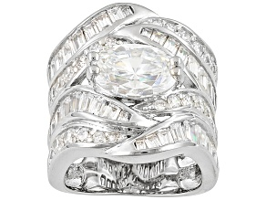 White Cubic Zirconia Sterling Silver Cocktail Ring 8.56ctw