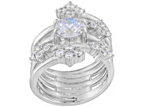 Cubic Zirconia Silver Ring 2.95ctw