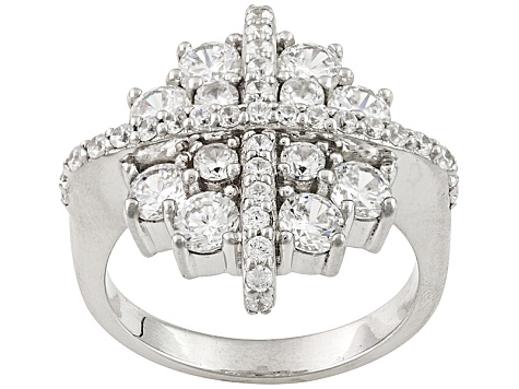 Cubic Zirconia Silver Ring 4.04ctw