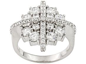 Cubic Zirconia Silver Ring 4.04ctw