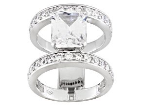 Cubic Zirconia Silver Ring 8.48ctw