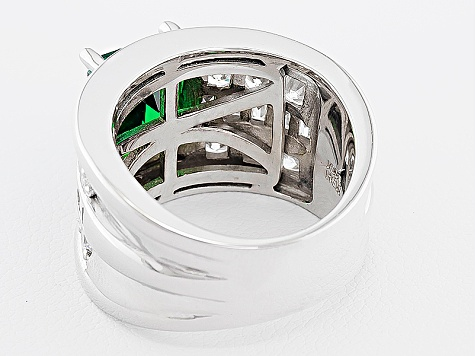 Green And White Cubic Zirconia Sterling Silver Ring 5.73ctw