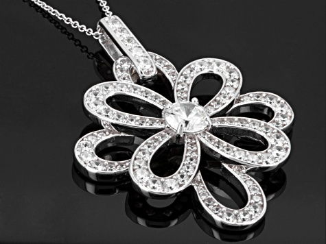 White Cubic Zirconia Sterling Silver Pendant With Chain 11.71ctw