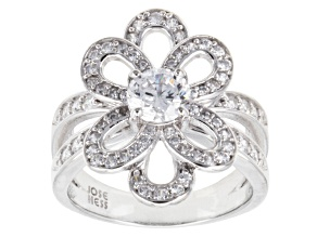 White Cubic Zirconia Sterling Silver Ring 2.71ctw