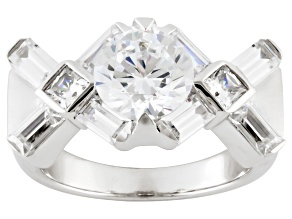 White Cubic Zirconia Sterling Silver Ring 6.46ctw