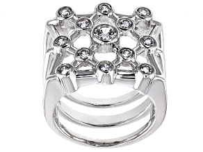 Cubic Zirconia Sterling Silver Ring 1.63ctw