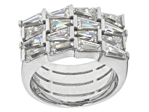 Cubic Zirconia Rhodium Over Sterling Silver Ring 5.60ctw