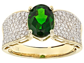 Green Russian Chrome Diopside 10k Yellow Gold Ring 2.21ctw.