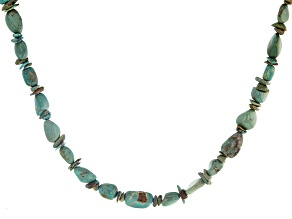 Blue Turquoise Rhodium Over Silver Necklace