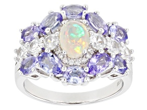 Multi-color Opal Rhodium Over Sterling Silver Ring 3.13ctw