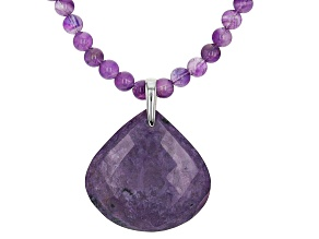 Purple Amethyst Rhodium Over Sterling Silver Pendant With Chain