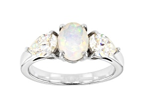 Multi-color Opal Rhodium Over Sterling Silver Ring 2.24ctw