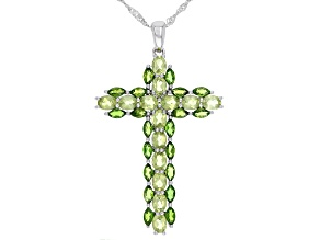 Green Peridot Rhodium Over Silver Pendant With Chain 3.74ctw