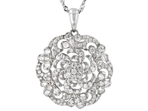 White Zircon Rhodium Over Sterling Silver Pendant With Chain 2.10ctw