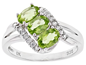 Green Peridot Rhodium Over Sterling Silver Ring 1.34ctw