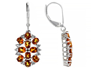 Oval Madeira Citrine Rhodium Over Sterling Silver Earrings 3.98ctw