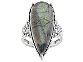 Gray Labradorite Rhodium Over Sterling Silver Ring 0.31ctw