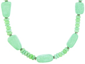 Green Opal Rhodium Over Sterling Silver Necklace