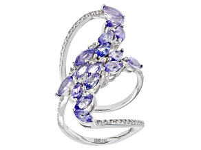 Blue Tanzanite Rhodium Over Sterling Silver Ring 3.36ctw