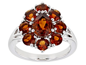 Orange Citrine Rhodium Over Sterling Silver Cluster Ring 2.53ctw