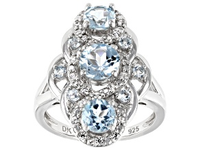 Blue Topaz Rhodium Over Silver Ring 2.57ctw