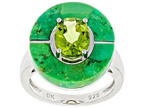 Green Peridot Rhodium Over Sterling Silver Ring 1.62ct