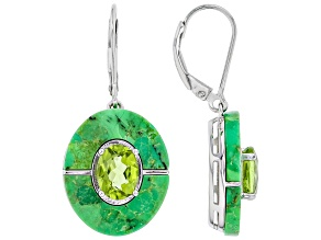 Green Peridot Rhodium Over Sterling Silver Earrings 2.21ctw
