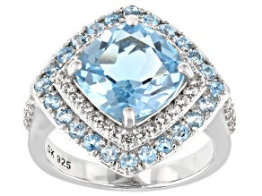 Blue Topaz Rhodium Over Sterling Silver Ring 4.80ctw