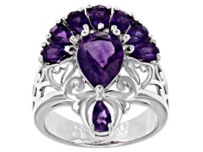 Purple Amethyst Rhodium Over Sterling Silver Ring 2.92ctw