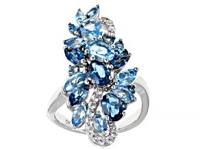 Blue Topaz Rhodium Over Sterling Silver Cluster Ring 4.53ctw