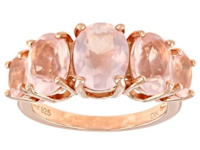 Pink Rose Quartz 18k Rose Gold Over Sterling Silver Ring 4.48ctw